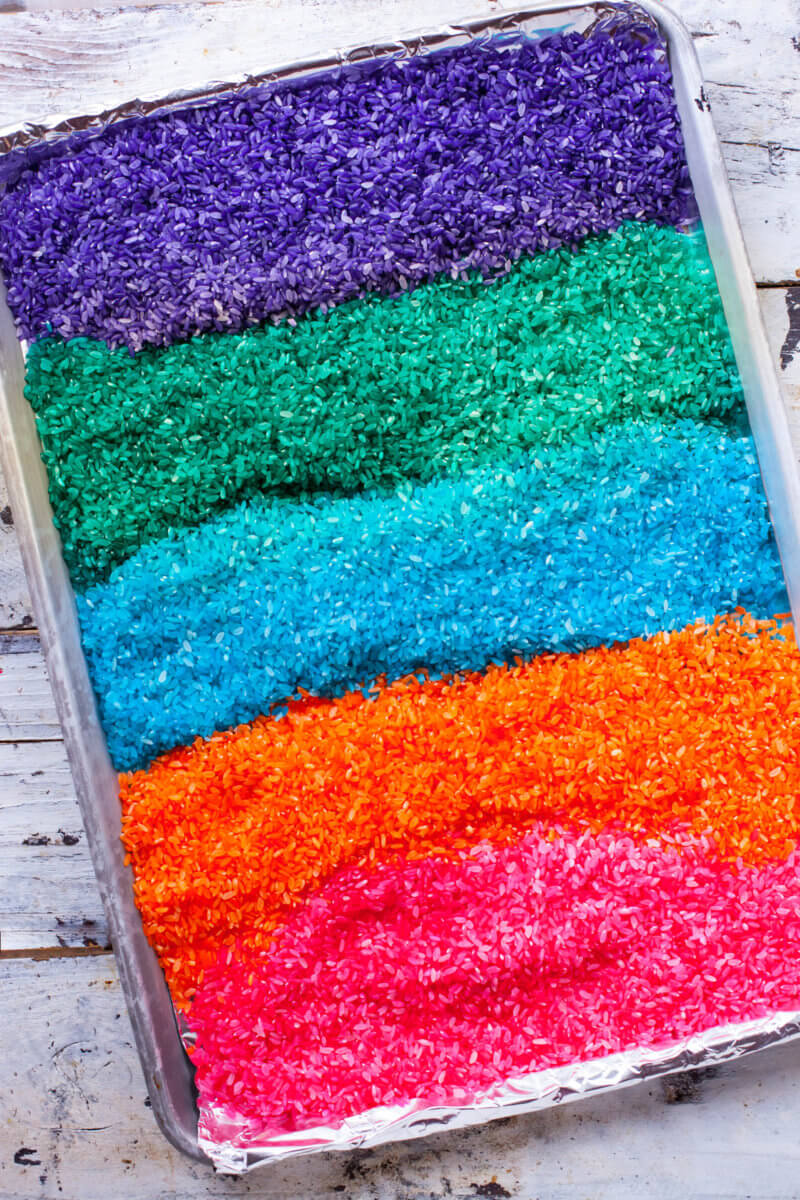 rainbow rice on a baking tray