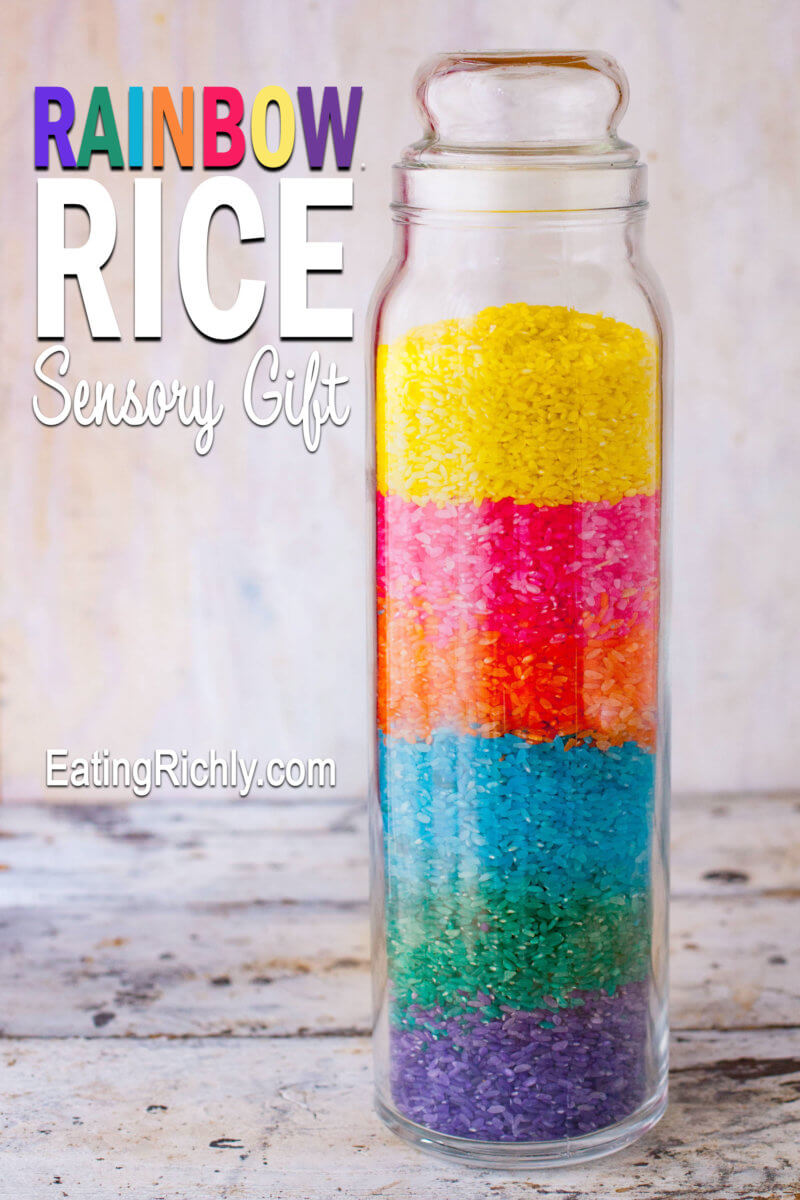rainbow rice sensory gift jar