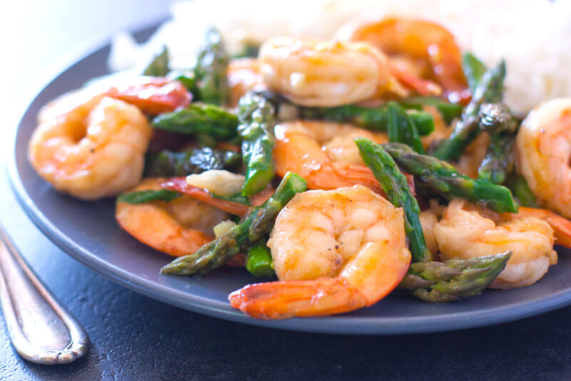 Asparagus and shrimp