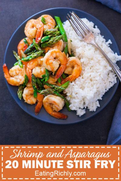 Shrimp and Asparagus Stir Fry Plated
