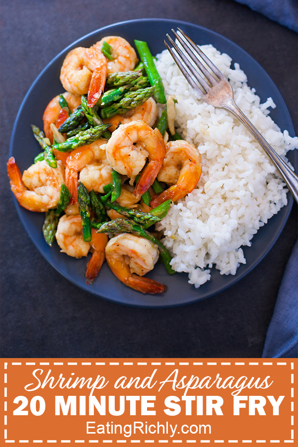 Shrimp and Asparagus Stir Fry Plated