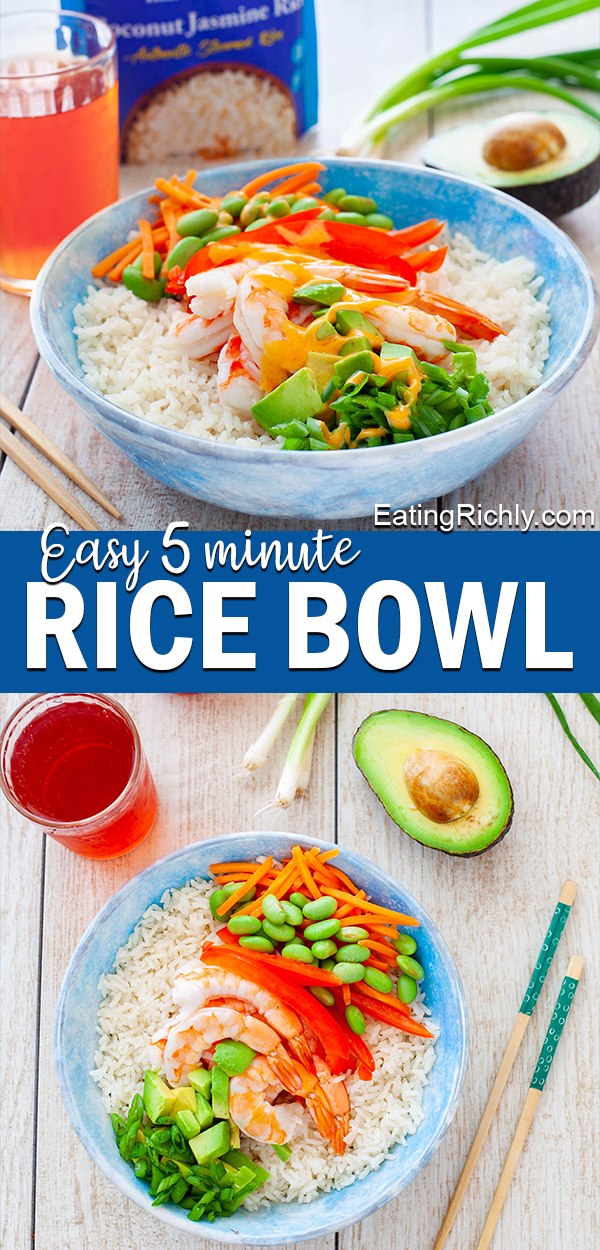 With a pouch of microwavable steamed rice, and a few simple ingredients, you can make a rice bowl for lunch at work in less than 5 minutes. Here's how to make a shrimp and veggie rice bowl, plus more of our favorite rice bowl recipes. #lunchrecipe #lunch #recipes #rice #powerbowl