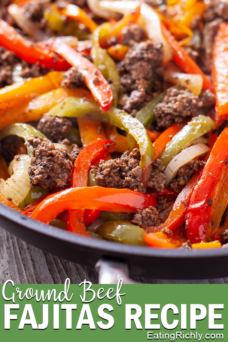 Ground Beef Fajitas in a Skillet