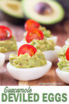 Boiled eggs are stuffed with flavorful guacamole to make these guacamole deviled eggs, a perfect BBQ side dish.