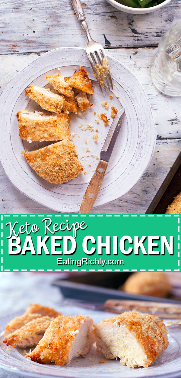 This keto baked chicken recipe is an easy dinner recipe for juicy, tender, flavorful chicken with a low carb crispy coating to satisfy that fried chicken craving. Made with boneless skinless chicken breasts and ready in just 30 minutes!