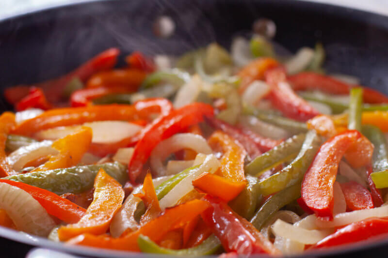 Peppers and Onions in a Skillet for Fajitas Recipe