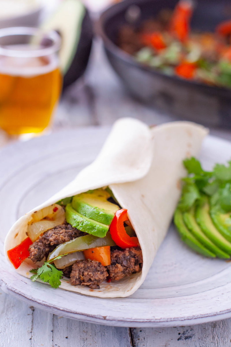 Ground Beef Fajitas in a Warm Tortilla