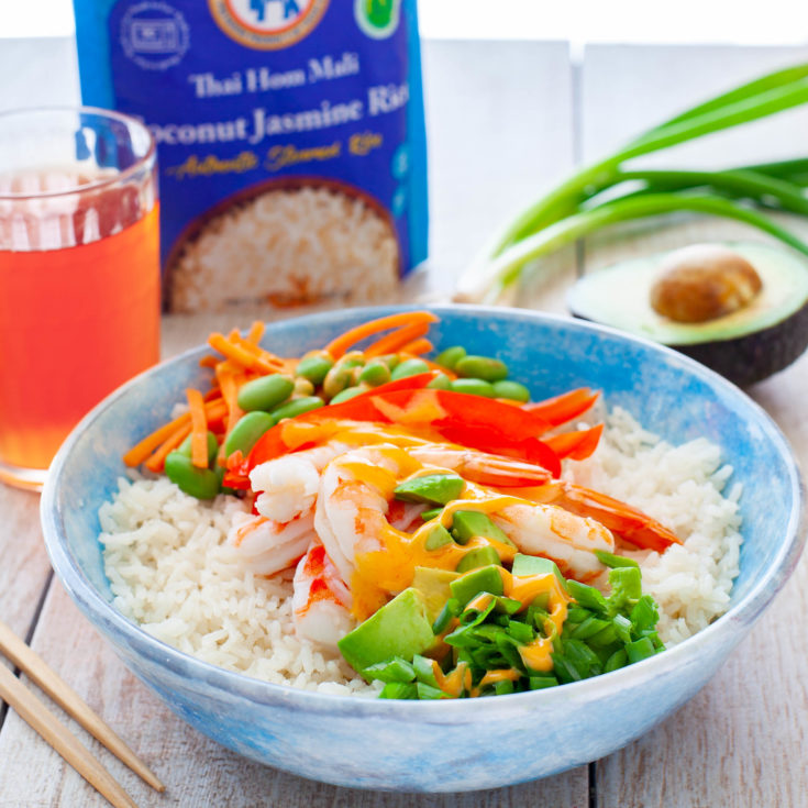 Rice Bowl Recipe with Shrimp and Veggies