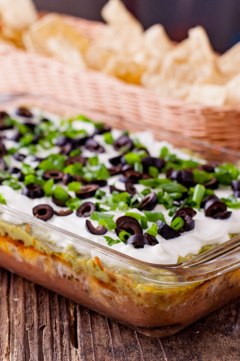 Baked 7 layer dip with chips
