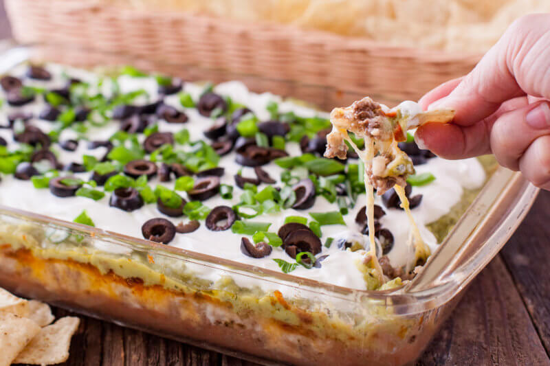 Melted Cheese 7 layer dip