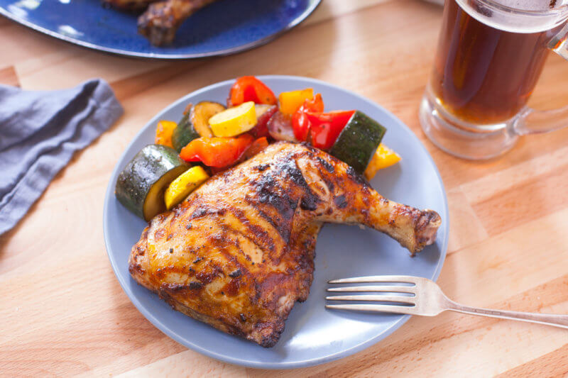 BBQ chicken and grilled vegetables