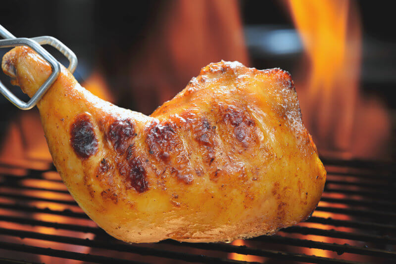Searing Chicken Leg on Grill