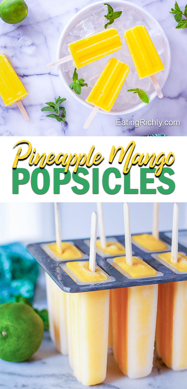 Frozen mango chunks, pineapple juice, and a hint of lime are blended together for healthy mango popsicles. These delicious frozen treats make a healthy dessert perfect for summer! #freezer #dessert #dessertrecipes #popsicles #frozen #mango #pineapple #healthyrecipes #healthyfood #healthyeating