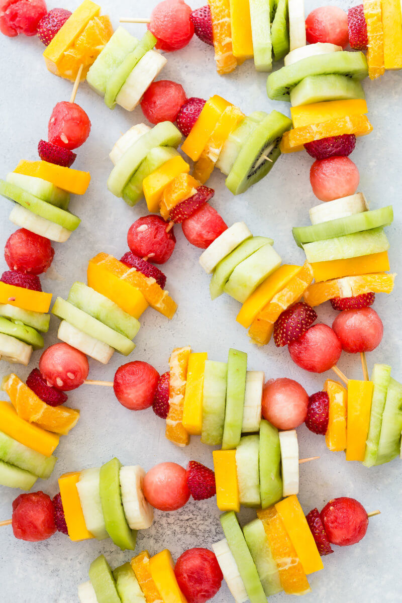 Rainbow Fruit Kabobs Camping Food