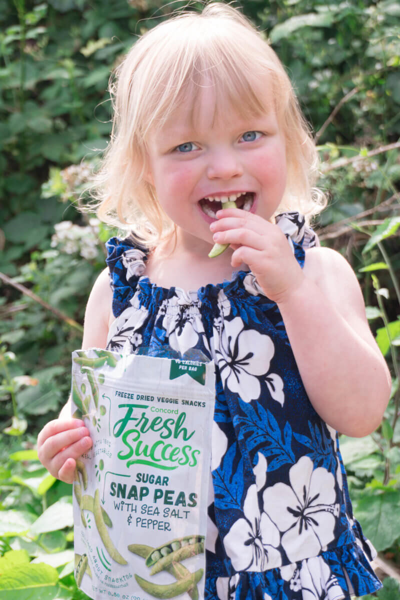 Toddler eating freeze dried peas camping