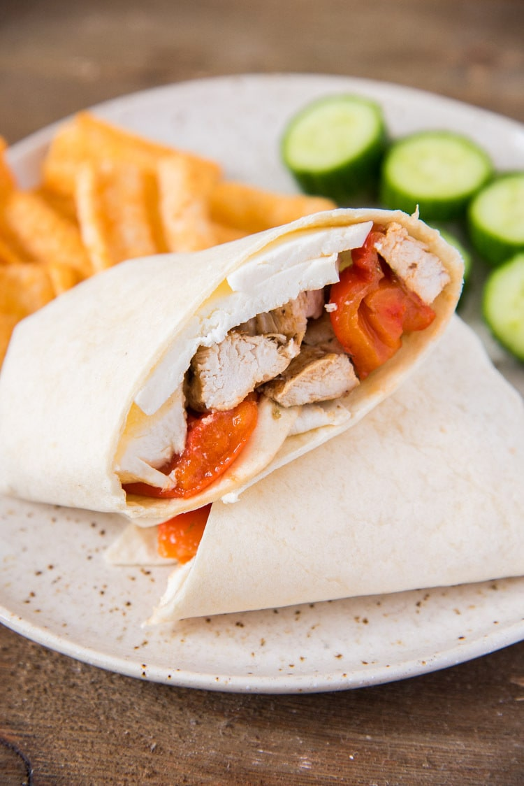 Grilled chicken wraps for camping