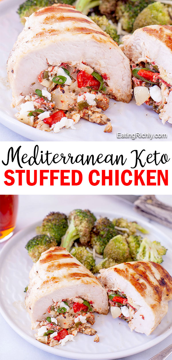 This keto stuffed chicken is easy to make and packed with Mediterranean flavors like artichokes, roasted red peppers, feta, green onions, and oregano.