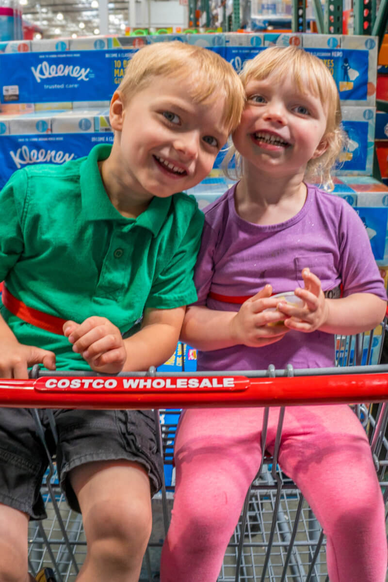 Kids in Costco Shopping Cart - Kindergarten Prep Tips for Mom