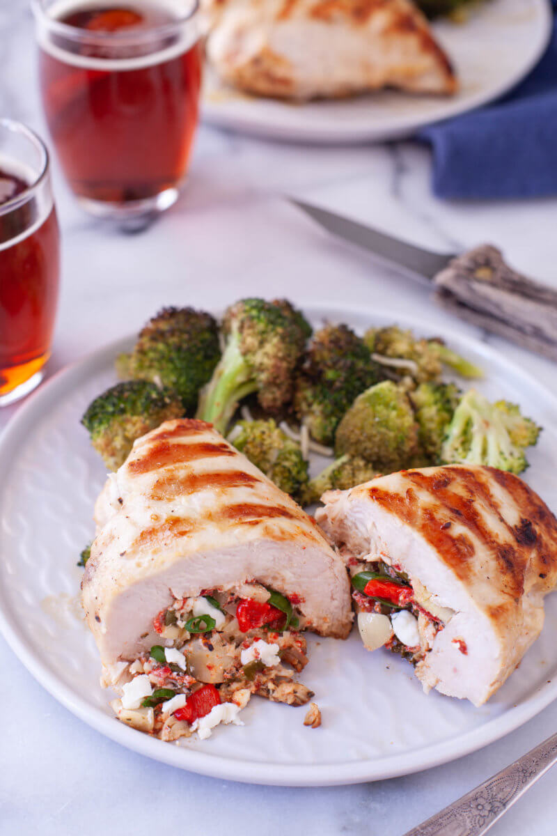 Mediterranean Keto Stuffed Chicken Dinner