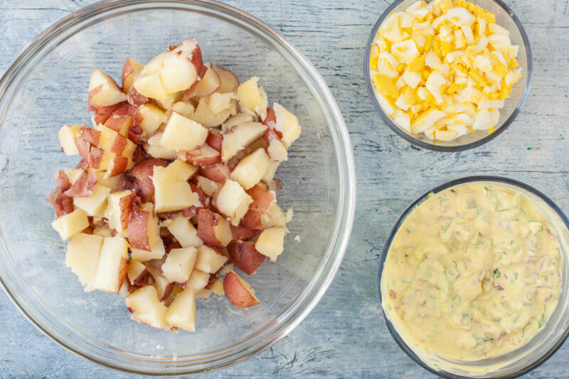 Red Potatoes With Dressing and Boiled Eggs for Potato Salad