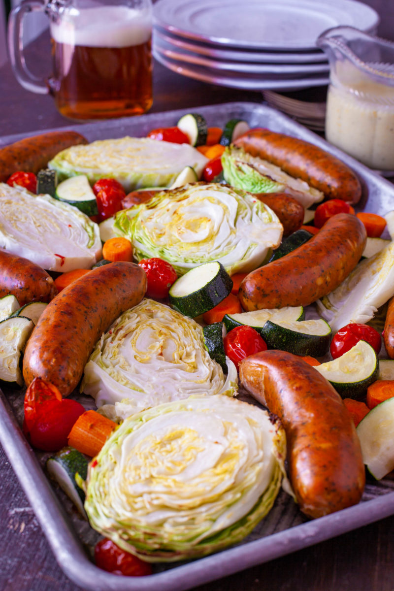 Cabbage and Sausage Sheet Pan Dinner