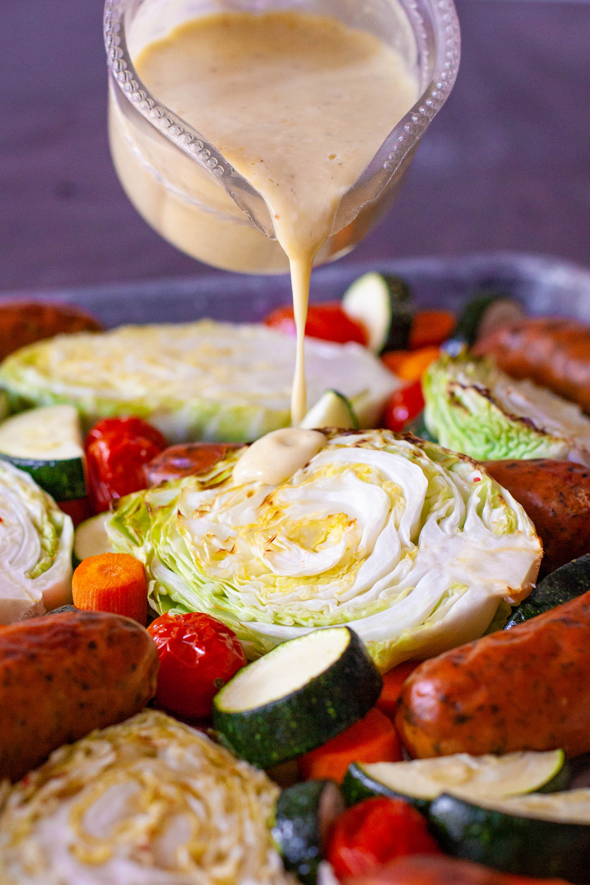 Cabbage and Sausage with Creamy Lemon Parmesan Dressing