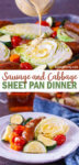 Get dinner ready in about 30 minutes with this easy cabbage and sausage recipe for a sheet pan dinner. The perfect easy weeknight meal! #dinner #dinnerrecipe #recipe #sheetpan #cabbage #sausage