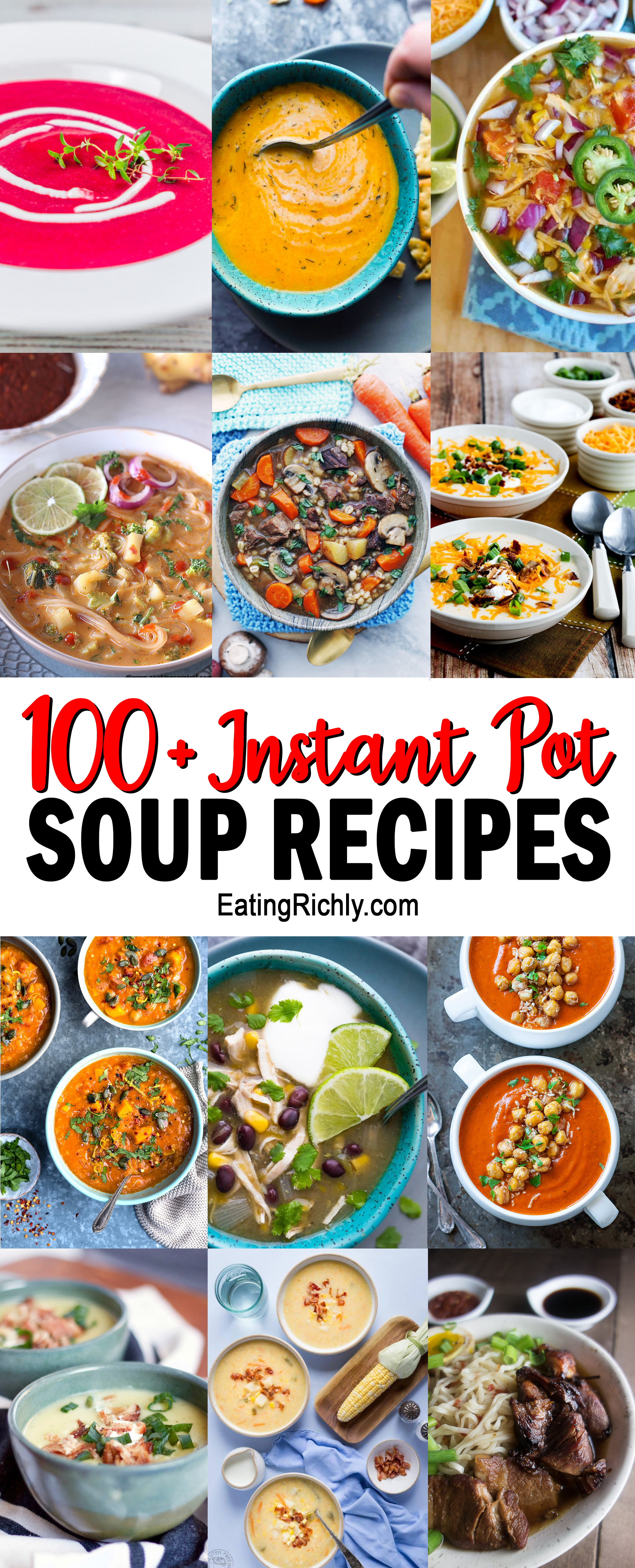 We've gathered over 100 of the best Instant Pot soup recipes and divided them by dietary needs. You won't believe how easy these soups are to make! Includes dairy free, vegan, vegetarian, gluten free, paleo, low carb, and more!