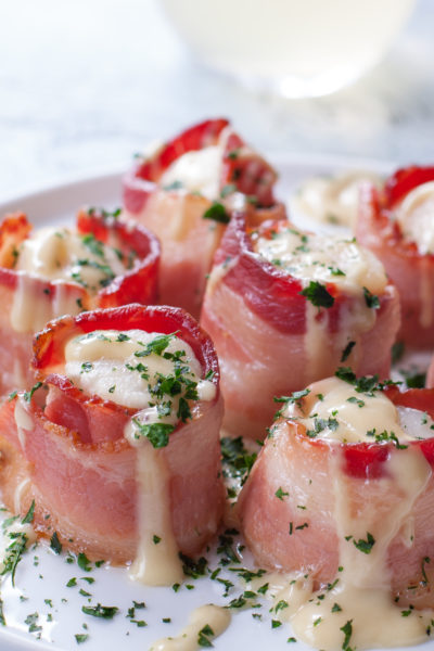 Bacon Wrapped Scallops Baked with Maple Cream Sauce