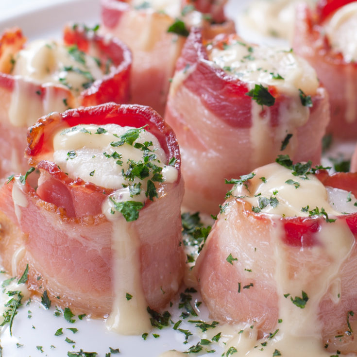 Bacon Wrapped Scallops Baked in Oven with Maple Cream Sauce