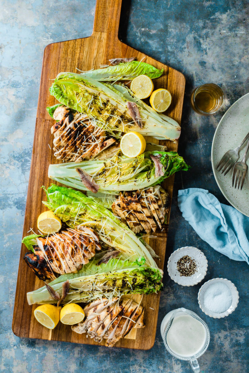 Grilled Romaine Hearts Chicken Caesar Salad