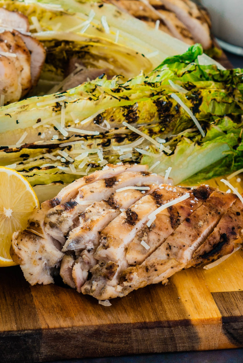 Grilled Romaine Hearts and Chicken