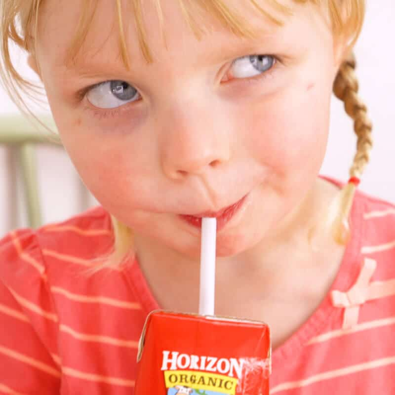 Child Drinking Horizon Organic Milk