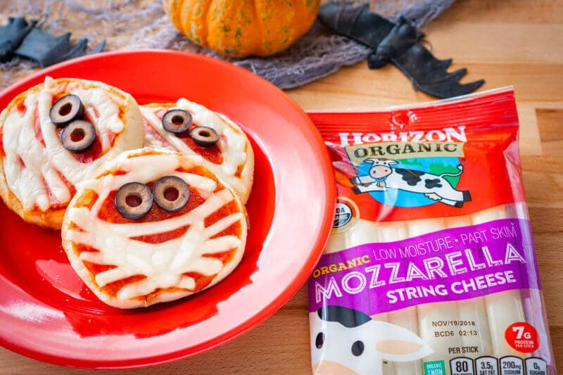 Halloween Pizza English Muffin Mummies