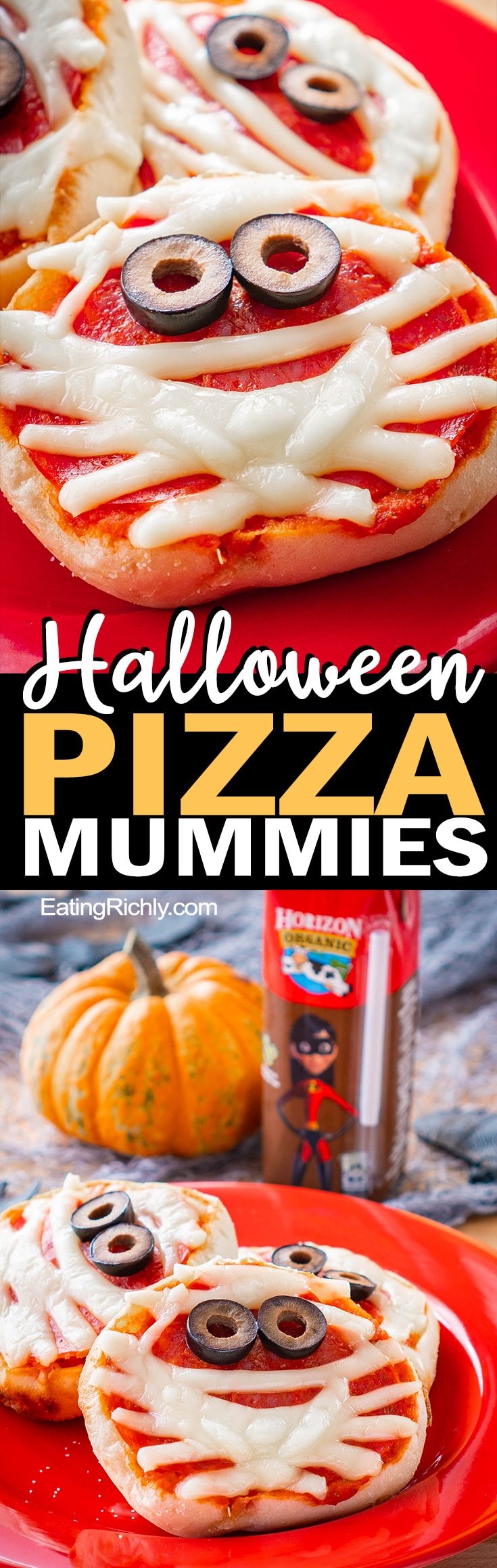 Kids will love turning string cheese and an English muffin into this cute Halloween Pizza Mummy. It's so easy, even toddlers can make it themselves!