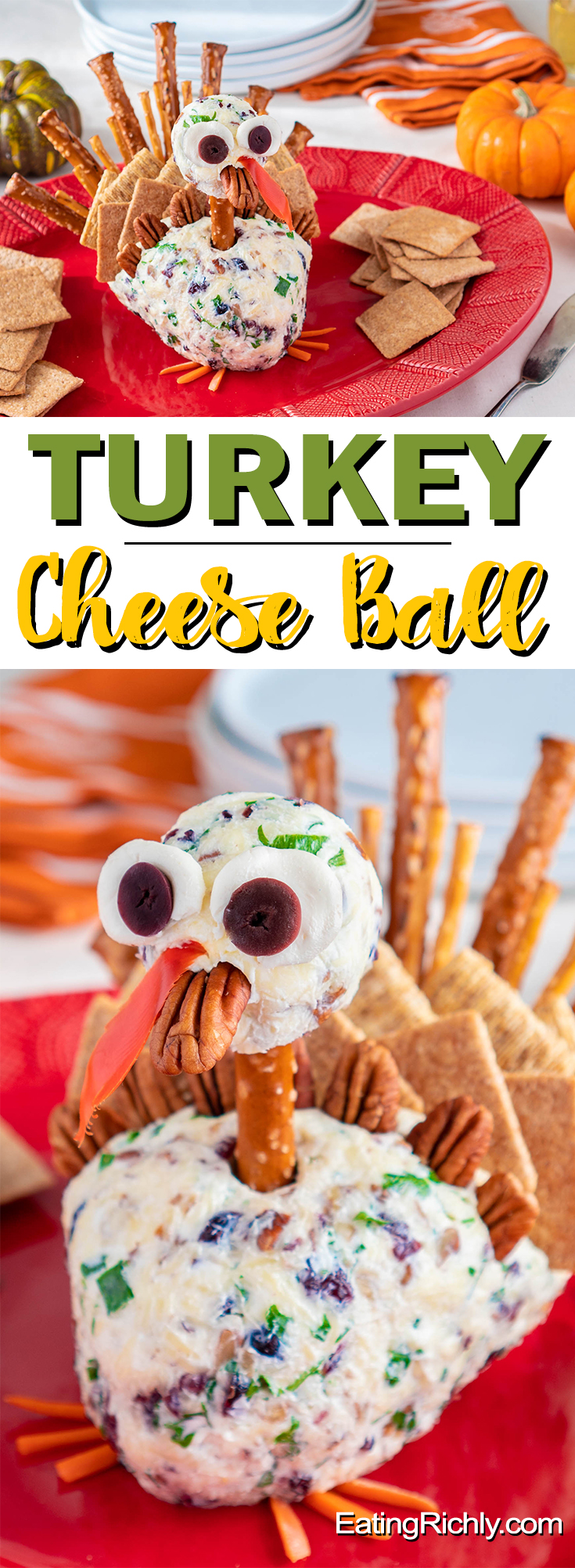 Impress your dinner guests with this adorable Turkey Cheese Ball Thanksgiving Appetizer. Holiday flavors like cranberries and toasted pecans are mixed with organic dairy for a Thanksgiving cheese ball that looks as good as it tastes.  #thanksgiving #thanksgivingrecipes  #thanksgivingdinner #thanksgivingtable #cheese #cheeseball #appetizers #appetizerrecipes #appetizerideas #organic #cute #cutefood