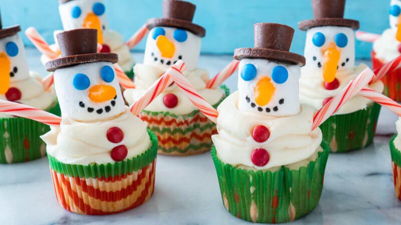 Snowman Cupcakes Christmas Baking