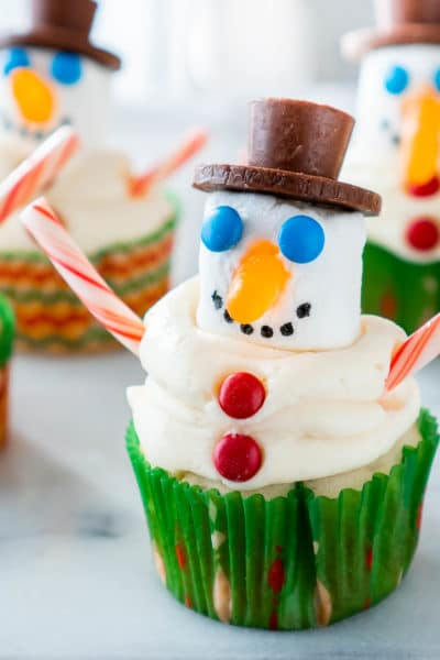 Snowman Cupcakes Using Marshmallows and Candy