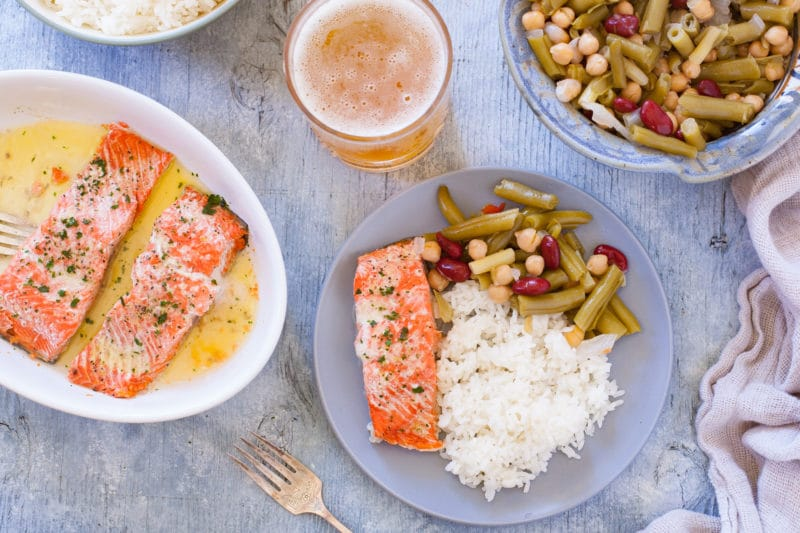 Fancy Dinner with Microwave Salmon