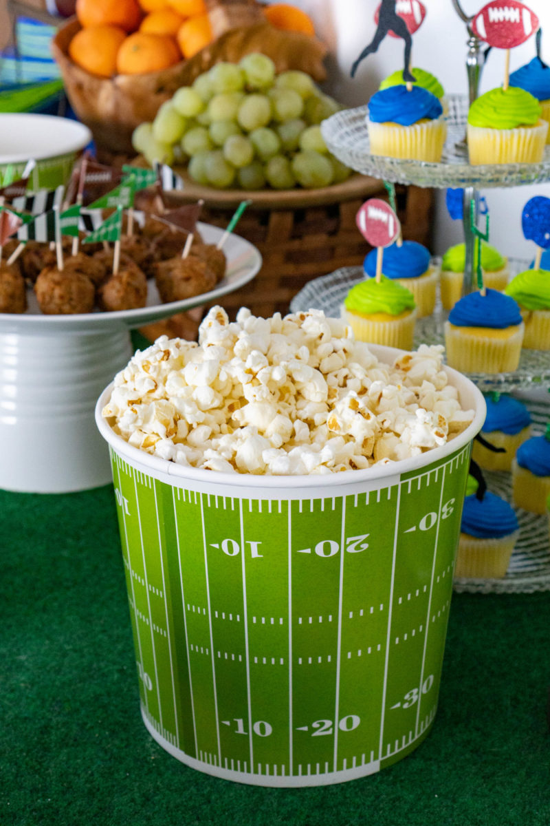 Popcorn snack bucket game day food buffet