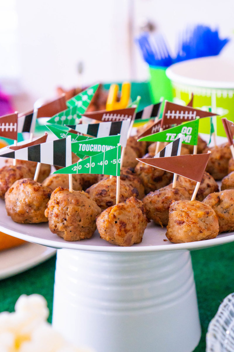 Meatballs with football themed picks for game day food buffet