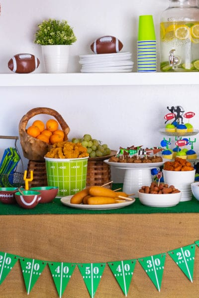 Football watch party game day food buffet