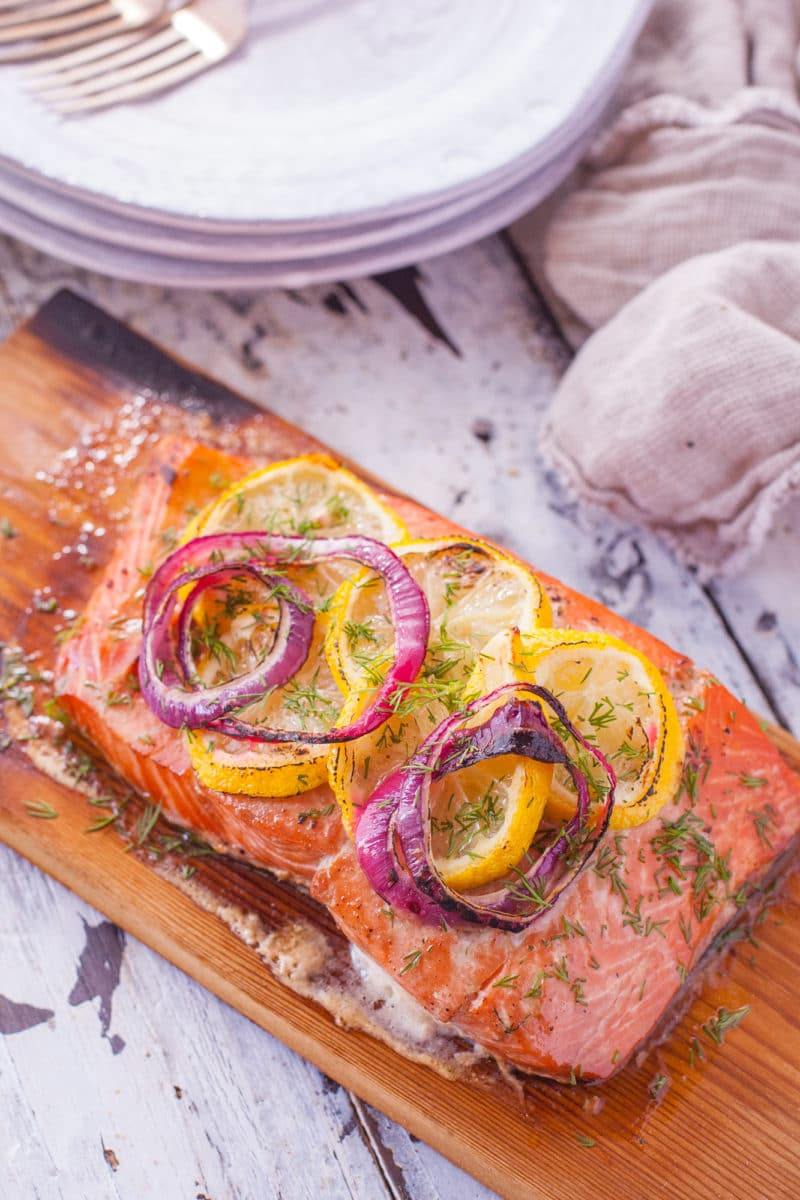 Lemon and Caramelized Onion Cedar Plank Salmon
