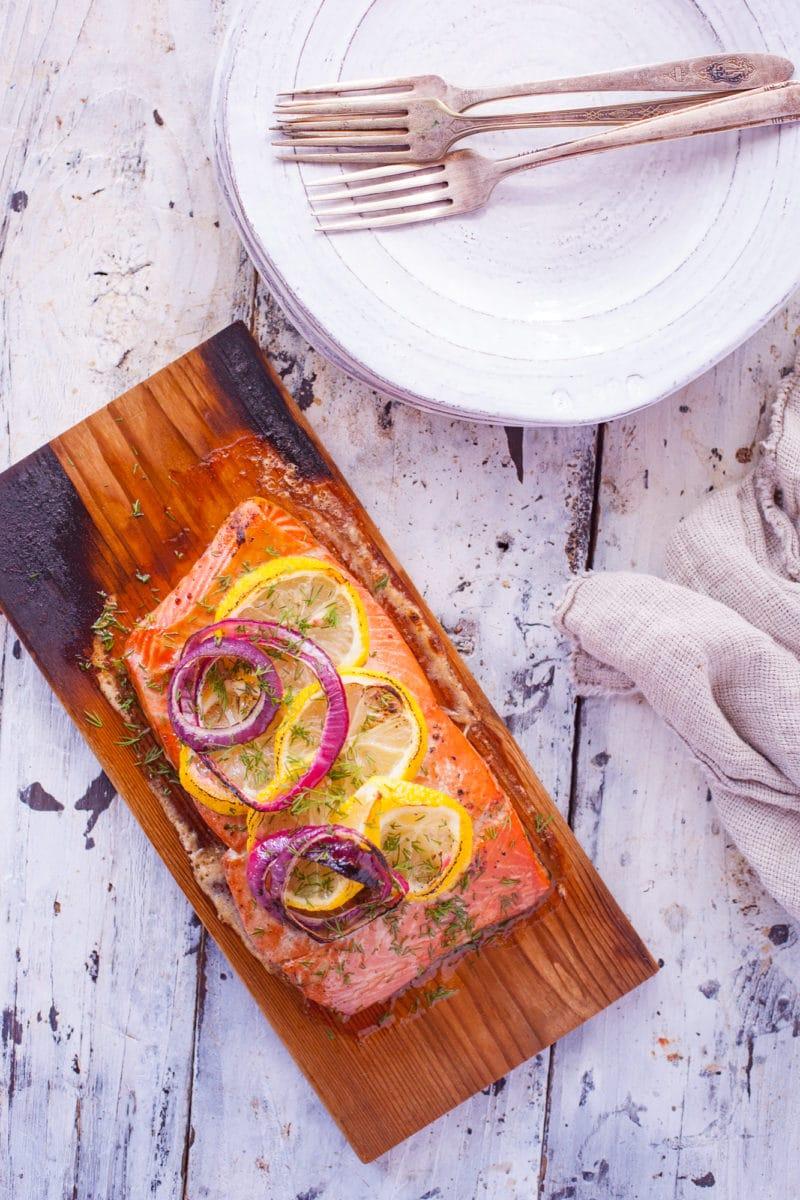 Grilled Salmon with Lemon and Red Onions on Cedar Plank