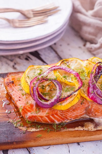 Cedar Plank Salmon Grill Recipe with Caramelized Lemon and Onions