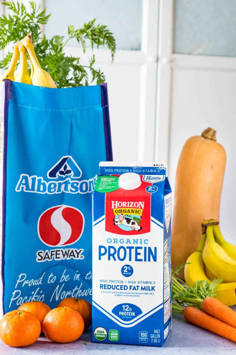Horizon Organic High Protein Milk with Safeway Shopping Bag