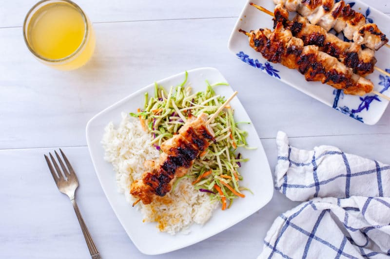 Grilled Teriyaki Salmon Skewers Dinner