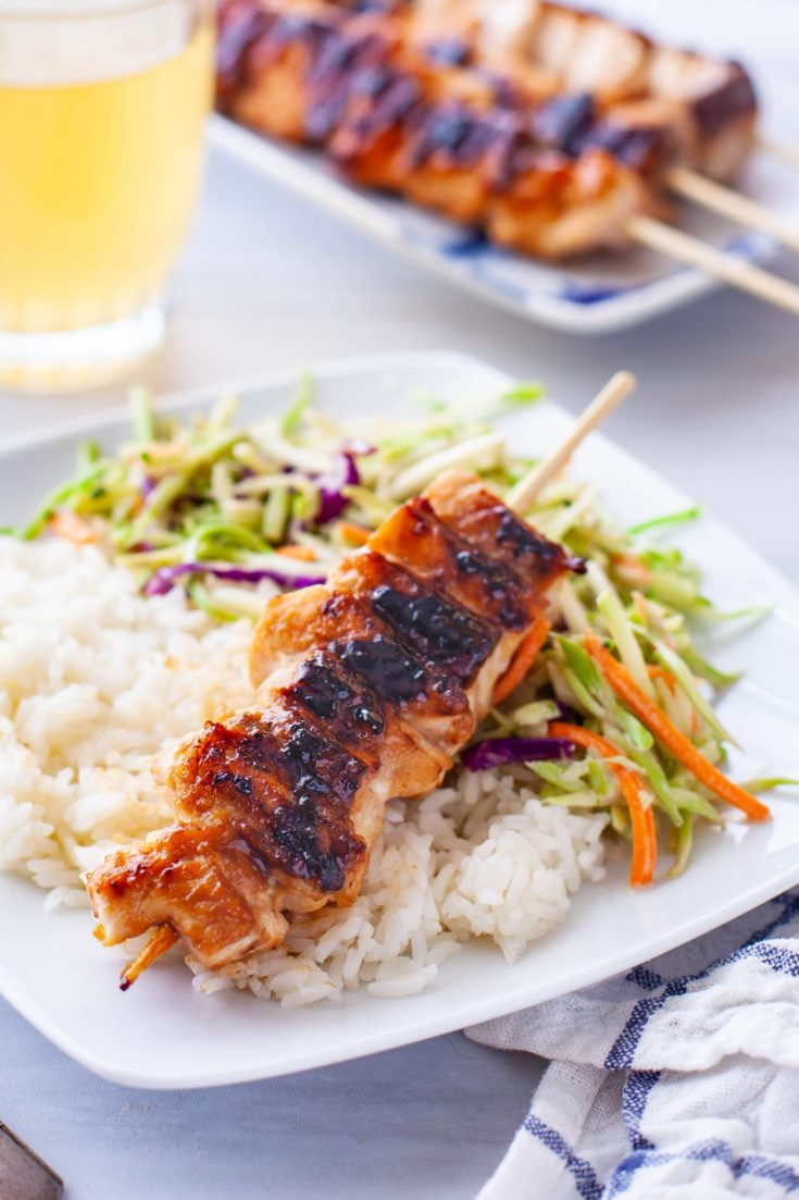 Grilled Teriyaki Salmon Skewers