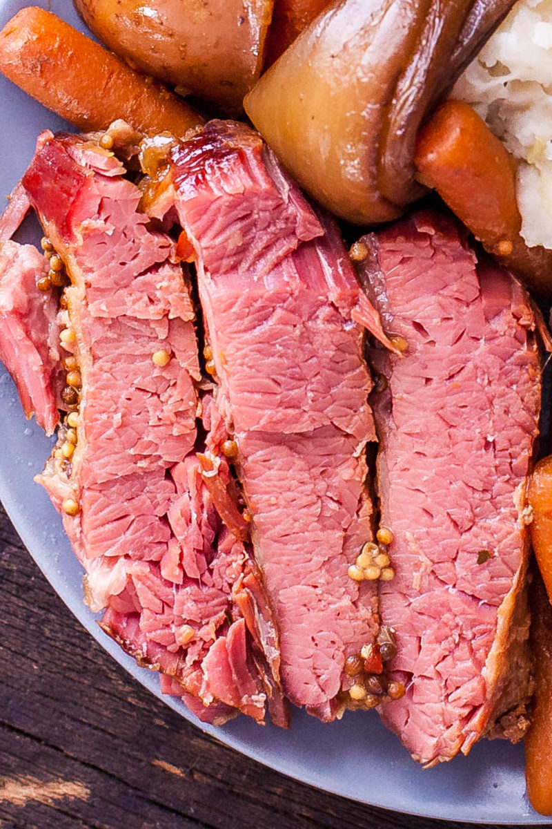Close Up of Crockpot Corned Beef Sliced Against the Grain