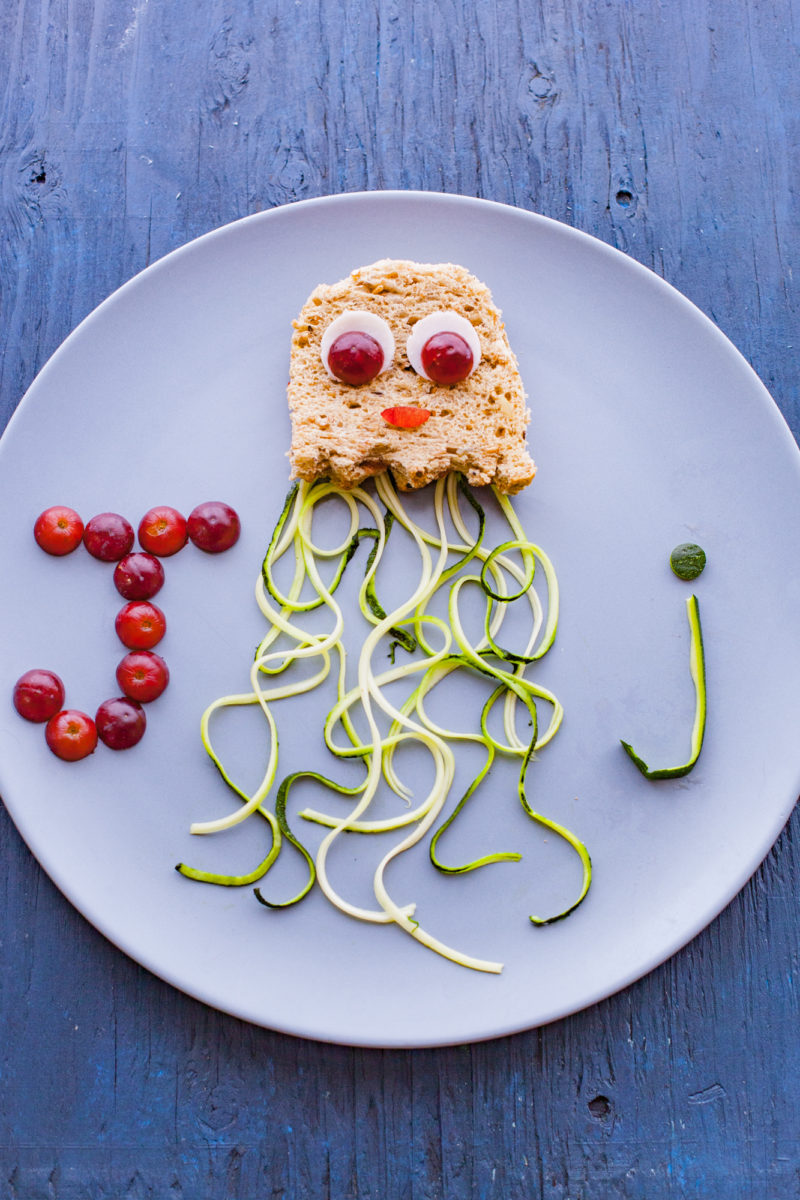 Alphabet Lunch Peanut Butter Jellyfish Sandwich with Zucchini Noodle Tentacles